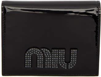 Miu Miu (ミュウミュウ) - Miu Miu ブラック パテント クリスタル ロゴ ウォレット