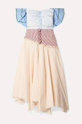 Rosie Assoulin Batten Down The Hatches Off-the-shoulder Striped Cotton-blend Poplin Dress - Cream