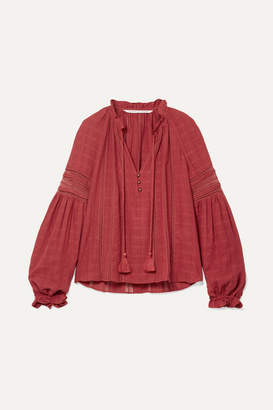 Veronica Beard Kalina Lace-trimmed Cotton Blouse - Brick