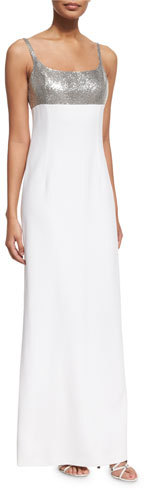 MICHAEL Michael Kors Michael Kors Sequined Tank Gown, Optic White