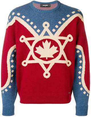 DSQUARED2 Canada intarsia knit sweater