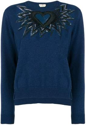 Fendi cut out embroidered heart sweater