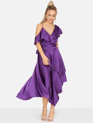Girls On Film Satin Asymmetric Dress - Purple
