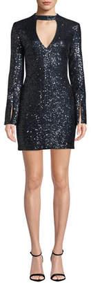 Ryse Sawyer Sequined Split-Sleeve Cocktail Dress