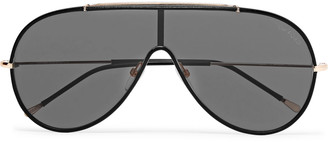 Tom Ford Aviator-Style Leather and Gold-Tone Sunglasses - Men - Black