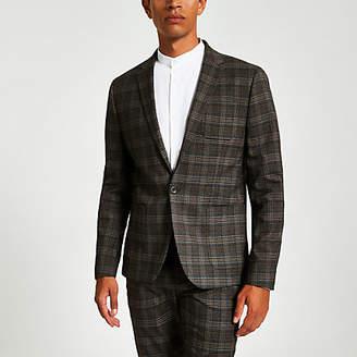 Mens Brown heritage check skinny fit suit jacket