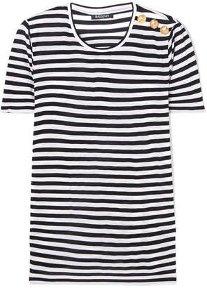 Balmain Button-embellished Striped Jersey T-shirt - Black