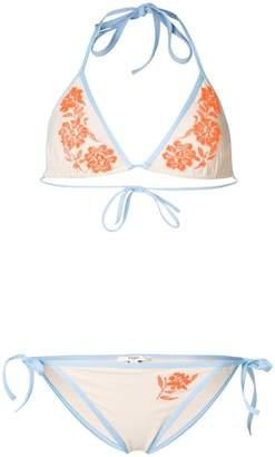 Fendi orange floral embroidered bikini