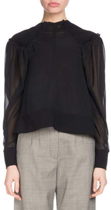 Proenza Schouler Long-Sleeve Button-Cuff Chiffon Blouse