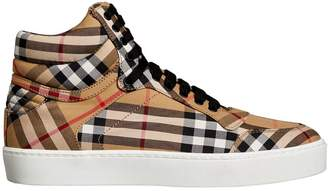 Burberry Vintage Check Cotton High-top Sneakers