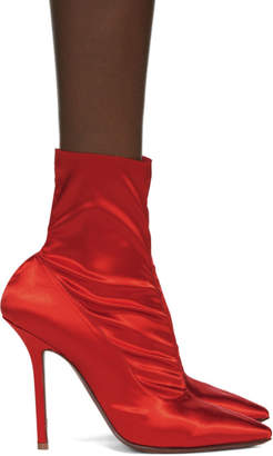 Vetements Red Satin Ankle Boots