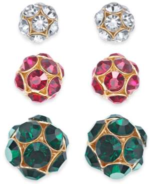 Holiday Lane Gold-Tone 3-Pc. Set Pave Fireball Stud Earrings, Created For Macy's