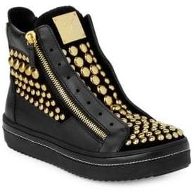 Giuseppe Zanotti Hi-Top Studded Leather Zipped Sneakers
