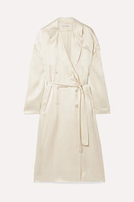 Mansur Gavriel Silk-satin Trench Coat - Cream