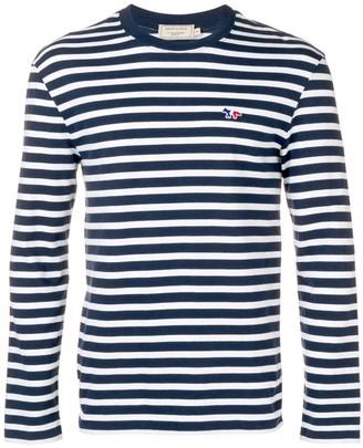 MAISON KITSUNÉ striped logo sweatshirt