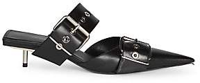 Balenciaga Women's Leather Point Toe Buckle Mules