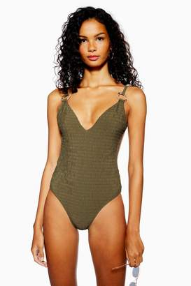 Topshop Shirred Ring Plunge One Piece