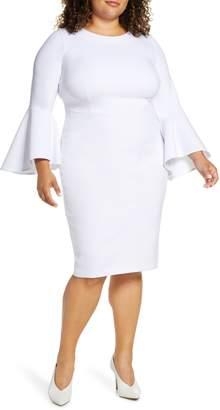 ELOQUII Flare Long Sleeve Scuba Sheath Dress