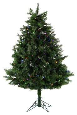 Fraser Hill Farms 5ft. Northern Cedar Teardrop Artificial Christmas Tree with Multi-Color LED Lights