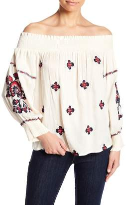 Raga Tessi Off-the-Shoulder Embroidered Blouse