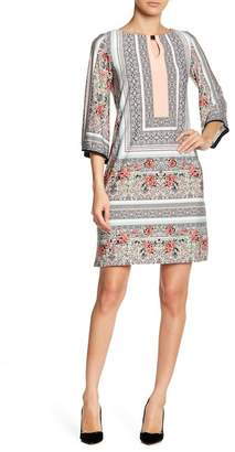 Sandra Darren 3/4 Length Bell Sleeve Print Dress