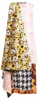 Richard Quinn Asymmetric Floral Print Panelled Satin Dress - Womens - Multi