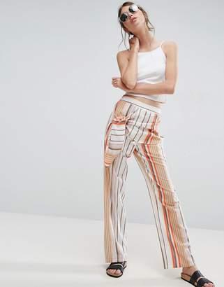 Asos Design Tie Side Striped Peg Pants