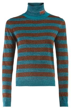 Prada Logo Intarsia Metallic Striped Sweater - Womens - Blue Stripe