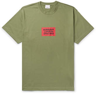 Burberry Oversized Logo-Print Cotton-Jersey T-Shirt - Men - Army green