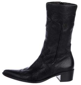 Carlos Falchi Leather Pointed-Toe Mid-Calf Boots