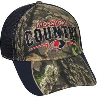 Americana Mossy Oak Mesh Back Camo Cap, Mossy Oak Break-Up Country Camo/Navy, Flexible Fitted