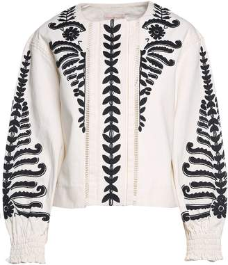 Tory Burch Embroidered Cotton-canvas Crop Jacket