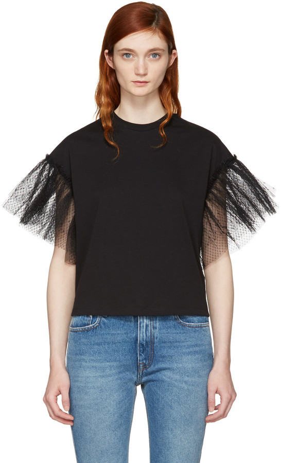 MSGM Black Tulle Sleeve T-Shirt