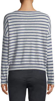 Vince Skinny-Stripe Boat-Neck Merino Wool Sweater