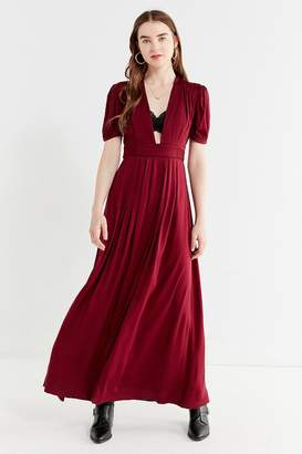 Urban Outfitters Sienna Plunging Pleated Maxi Dress