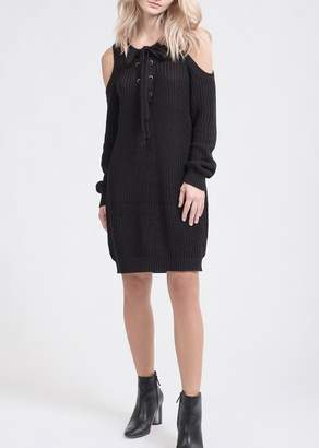 J.o.a. Cold Shoulder Knit Sweater Dress