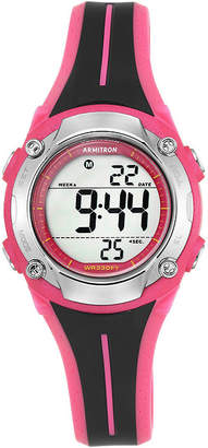 Armitron Womens Black and Pink Digital Chronograph Sport Watch