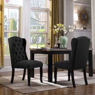 Chic Home Viola Dining Accent Chair Faux Linen Upholstered, Set of 2