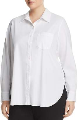 Lysse Plus Schiffer Pocketed Pleated-Back Button-Down Shirt