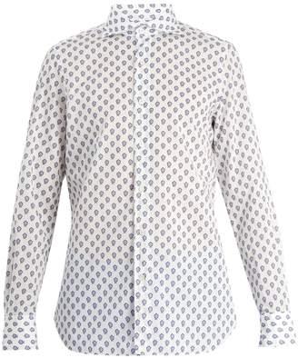Finamore Floral-print spread-collar cotton shirt