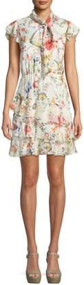Alice + Olivia Leslie Tie-Neck Floral-Print Silk Ruffle Dress