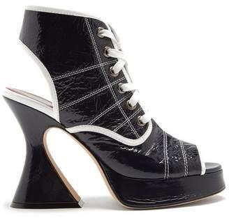 Sies marjan Sies Marjan - Erin Peep Toe Crinkled Leather Ankle Boots - Womens - Navy