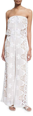 Miguelina Piper Strapless Lace Jumpsuit Coverup Pure White