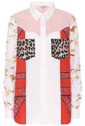 Ganni Patchworked cotton poplin shirt