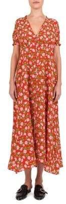 The Kooples Summer Fraises des Bois Silk Midi Dress