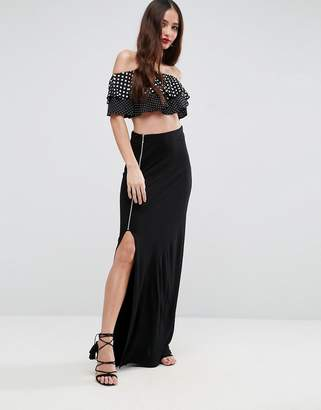 Asos Design Maxi Skirt with Thigh Split and Zip Detail