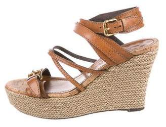 Burberry Leather Wedge Sandals