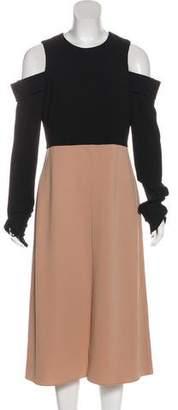 Tibi Two-Tone Cold-Shoulder Dress