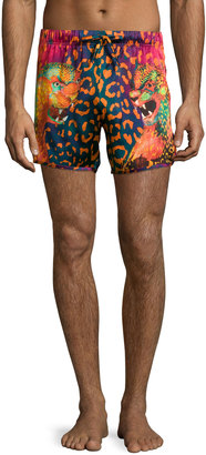 Versace Animal-Print Swim Trunks, Black/Fuchsia $337.50 thestylecure.com