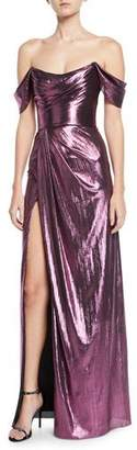 Marchesa Off-the-Shoulder Metallic Lame Draped Gown
